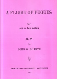 A Flight of Fugues, op.44 available at Guitar Notes.