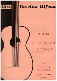 Sonatina in C op.73 available at Guitar Notes.
